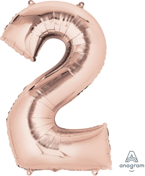 rose gold number 2 balloons