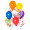 12 latex balloons bunch including 6 confetti balloons