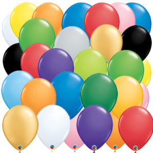 inflated, helium filled balloons latex