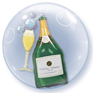 Bubble Balloons Champagne bottle Glass