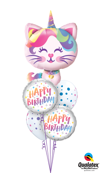 caticorn balloon arrangement