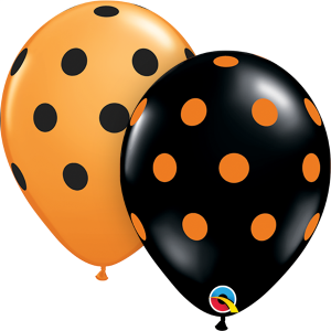 orange and black polka dot latex