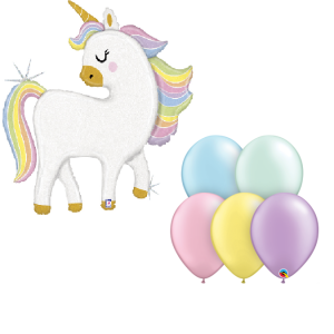Unicorn pastel balloon arrangement