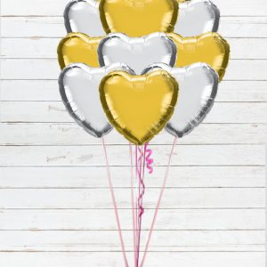 12 heart shaped gold and silver balloons