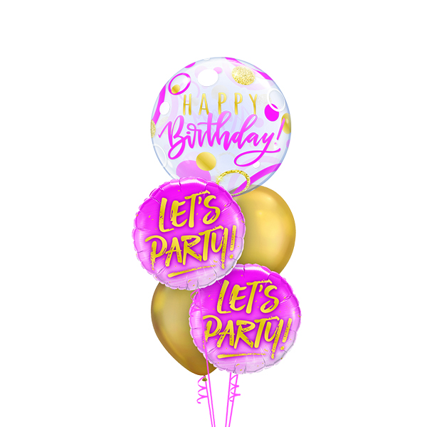 Pink Let's Party Birthday helium balloons