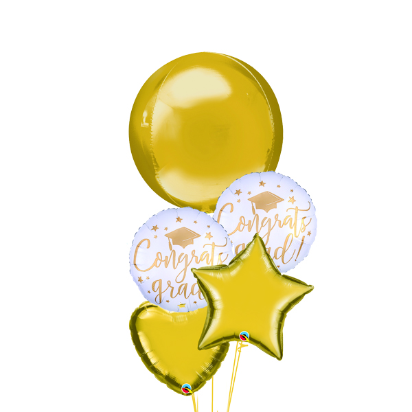 Gold Graduations balloon bouquet