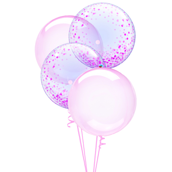 Confetti dots and Clear pink balloons