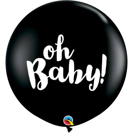 Gender reveal helium confetti balloon 'oh baby!' print