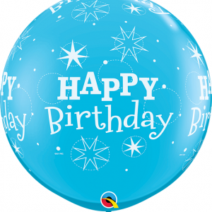 giant latex round birthday balloon in blue