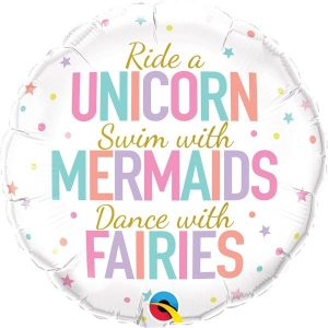 unicorn, mermaids and fairies mylar balloon