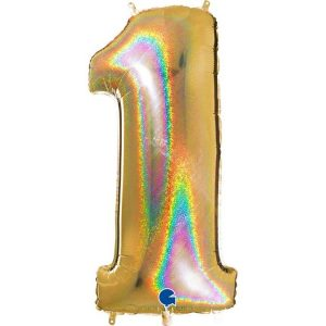 GIANT HELIUM GOLD GLITTER NUMBER 1 BALLOON