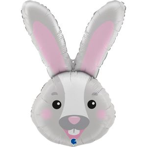 bunny head inflated helium balloon