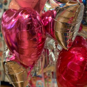 pink and silver helium balloons